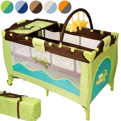 Infantastic Kinderbett (Farbwahl) Klappbett Babybett Laufstall Reisebett Babyreisebett Inkl. Matratze + Zubehör (Jungle Croc)