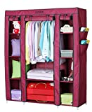 YUTIRITI Fancy Triple Door Large Maroon Portable Multipurpose Waterproof Fabric Wardrobe Closet Organizer - 53 x 18 x 64 Inch