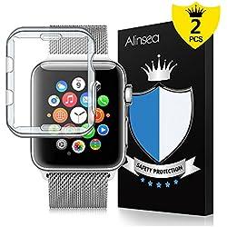 Alinsea Apple Watch 42mm Coque[2 Pièce], pour Apple Watch 42mm Protection écran [Sans Bulles] [Couverture Full HD][Couverture Complète] TPU iWatch 42mm Series2/3, Hermès/Nike+ Edition