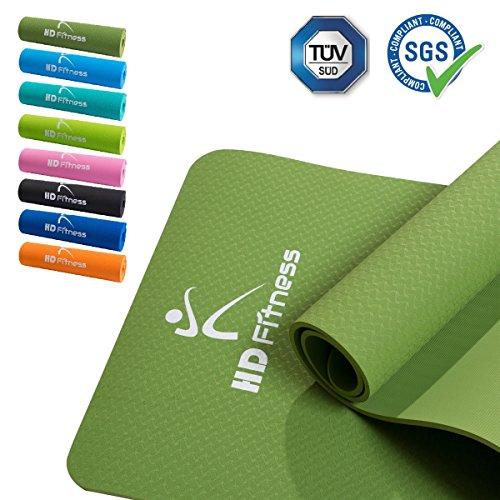 HD Fitness® Gym und extra dicke und weiche Matten, TPE, insgesamt 8 Farben. Ideal Pilates Yoga, Fitness Workout / Größe: 183 x 61cm Dicke 0.8cm (Army grün), TÜV und SGS geprüft