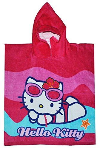 Unbekannt Badeponcho - Hello Kitty - 60 cm * 120 cm - 4 bis 8 Jahre Poncho mit Kapuze - Handtuch Strandtuch / Badetuch aus Baumwolle -...