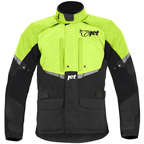 Mens Black/Fluro Textile Motorcycle Motorbike Jacket Waterproof CE Armoured … (M)