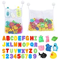 BBLIKE 2 x Mesh Baby Bath Toys Storage + 6 Ultra Strong Hooks + 8 Sound Toy + 36 Bath Letters & Numbers Bathroom Shower Organizer for Toys, Shampoo & Soap Perfect Toy Storage Net for Baby Bath Toys