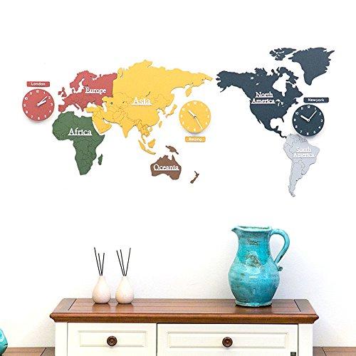 Y-Hui der Weltkarte Wanduhr dekorative Malerei keine Abendkasse Wanduhren, 220 * 115 Cm, 3-mm-Platte, Farbe