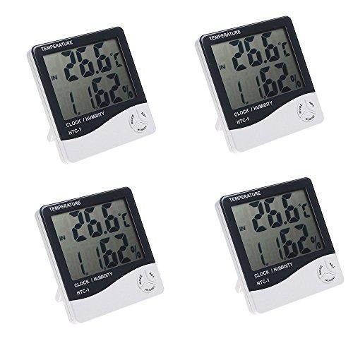 4X Misika LCD Display Digitales Hygrometer Thermometer Luftfeuchtigkeitsmesser Hygrometer Wecker mit Halter (4) (Und Weiß-euro-schein Schwarz)