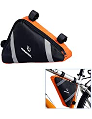 ROSWHEEL Triangulo Marco Bicicleta Alforjas Triangulo Bolsa Hecha de Nylon de Alta Calidad para Bicis Bicicletas de Montana Bicicletas de Carretera Azul Negro/Negro Naranja
