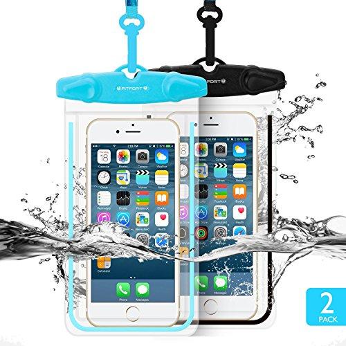 Universal wasserdichte Schutzhülle, fitfort 2Pack Universal Dry Bag/Tasche, für iPhone 7/6/6S Plus/5/5S/5C Galaxy S7/S7Edge/S6/S5/S4Note 4/3LG G5/G3bis 14cm (schwarz + blau) (Ipod Touch 5 Schwarz Und Blau Fall)