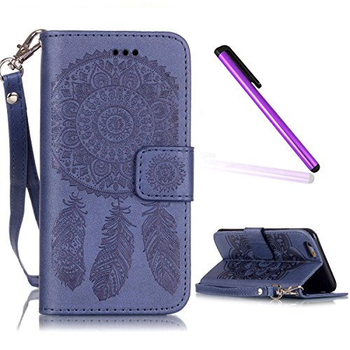 iPhone 6S Plus Coque Cuir,iPhone 6S Plus Coque en Cuir Folio Housse Flip Etui Housse pour iPhone 6 Plus,iPhone 6S Plus Coque Fille,iPhone 6S Plus Flip Etui de Protection PU Cuir Bookstyle Étui Housse  D Campanula 7