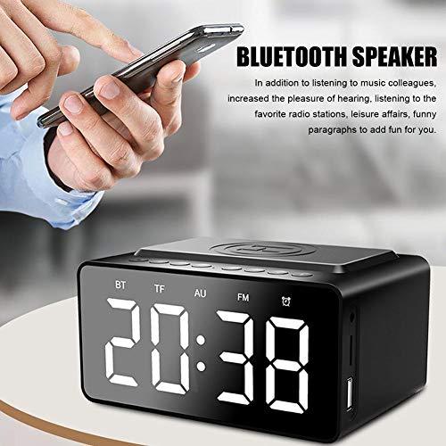 mildily Reloj Despertador de Carga inalámbrica de Radio Digital/FM Junto a la Cama con Altavoz Bluetooth 5.0 y micrófono Incorporado, Reloj de Alarma Doble a Prueba de Agua 3In1 LED con Practical