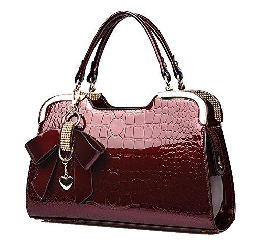 Yan Show Damen Schmetterlings-Anhänger Schulter Beutel Lackleder Handtasche Neu Krokodil Muster Handtaschen Weinrot