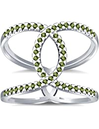 Silvernshine Halo Twist Green Peridot CZ Diamonds Engagement Ring 14k White Gold PL Bridal Ring