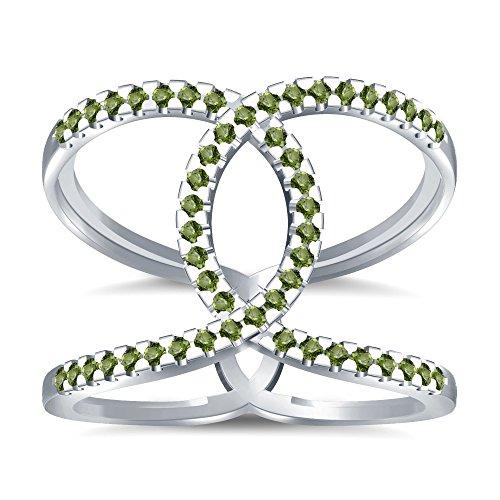 Silvernshine Halo Twist Green Peridot CZ Diamonds Engagement Ring 14k White Gold PL Bridal Ring