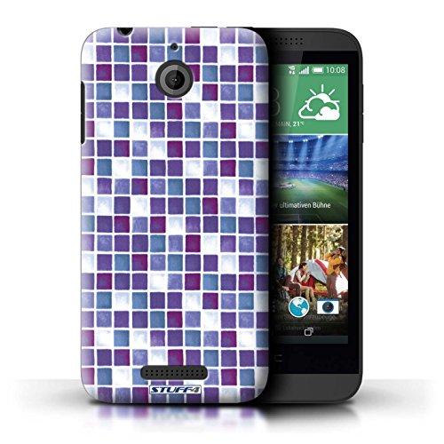 Kobalt® Imprimé Etui / Coque pour HTC Desire 510 / Jaune/Marron conception / Série Carreau Bain Violet/Blanc