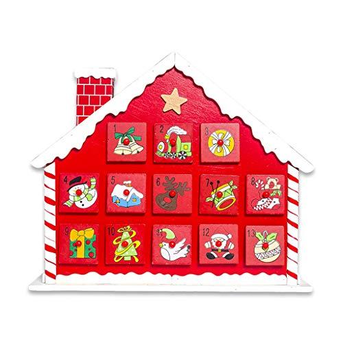 JIACUO Weihnachtshaus-Countdown-Adventskalender mit 24 Schubladen