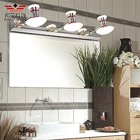 XiangMing Brief creativo impermeabile circaIl LedPrima che la lampada a specchio vanity wc lo specchio del bagno le pareti del contenitore e presentano un decor moderno lampada luce caldaLed,3TestaLunga50cm