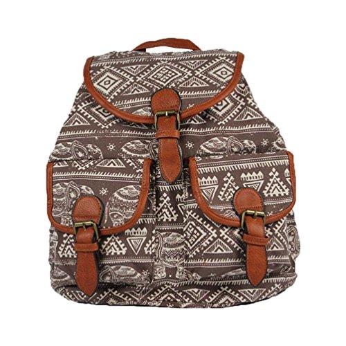 YiLianDa Damen Mädchen Casual Vintage Canvas Segeltuch Taschen Reisetaschen Schultaschen Rucksack D