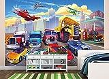 great-art Fototapete Autorennen Comic für Kinderzimmer - 336 x 238 cm 8-teiliges Wandbild Kindertapete Wandtapete Kindermotiv Auto und Flugzeug Test