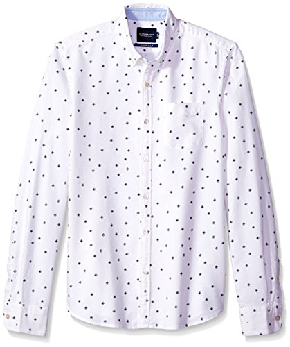 Scotch & Soda Herren Langarmshirt Ams Blauw Slim Fit Allover Printed Shirt in Seasonal Pattern Combo A