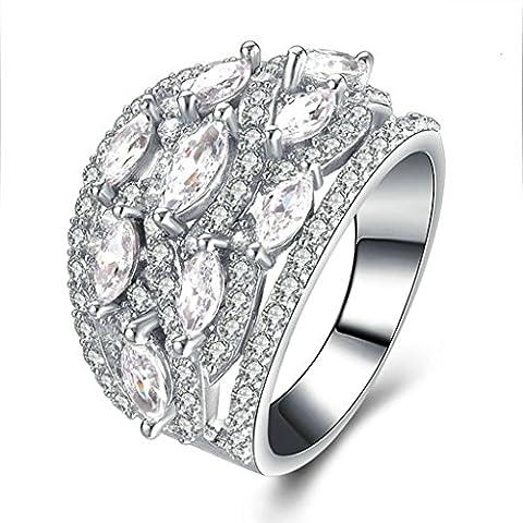 (Personalizzati Anelli)Adisaer Anelli Donna Argento 925 Anello Fidanzamento Incisione Gratuita Ovale Doppio Anello Diamante Pave