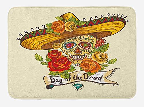 enkopf in Sombrero, traditionelles mexikanisches Kulturthema, Rosen Tag der Toten, Plüsch, Badezimmer-Dekoration, mit Rutschfester Unterseite, 73,7 x 44,5 cm, Mehrfarbig ()