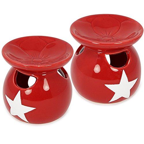 Rot Duftlampe (com-four® 2X Duftlampe aus Keramik in rot mit weißem Stern, Stövchen für Duftöle aus feinstem, glänzenden Dolomeit (02 Stück - Stövchen Set6))