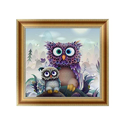 Gemini_mall® DIY 5D Diamond Painting Cross Stitch Kits Handmade Owl Rhinestone Painting Embroidery Cross-Stitching Set Mosaic Canvas Art Home Wall Decor