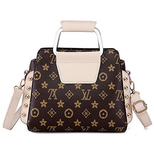 Ldyia Bag Damen Bedruckte Handtasche Handtasche Niet alte Blume tragbare Brieftasche Europäische und amerikanische alte Blumentasche, beige