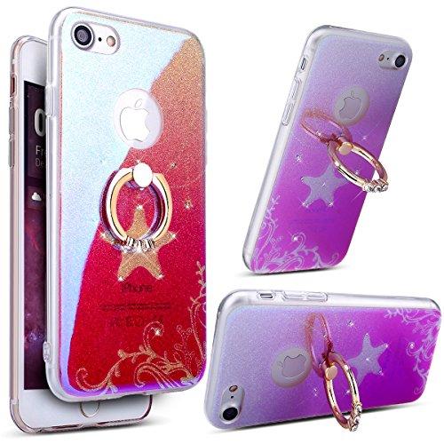 Coque iPhone 7,Étui iPhone 7,iPhone 7 Case,ikasus® Coque iPhone 7 Silicone Étui Housse Téléphone Couverture TPU avec [Diamant Ring Stand Support] Dégradé de couleur brillant Bling paillettes scintille Collier étoile