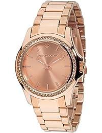 Yves Camani Damen-Armbanduhr Montpellier mit roségoldenem Edelstahlgehäuse und steinbesetzer Lünette. Klassische Quarz- Damen-Uhr mit roségoldenem Edelstahl-Armband