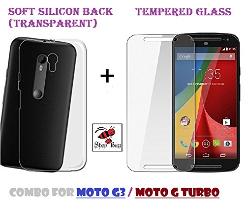 Combo of Transparent Back Cover + Tempered Glass - Motorola Moto G3 & Moto G Turbo - By Shop Buzz (Transparent Silicon Back and Tempered Glass Screen Protector For Moto G Turbo & G 3)