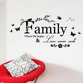 """Asenart Wandtattoo, Schriftzug """" Family / Where Life Begins & Love Never Ends"""" – abnehmbar, PVC, Zitate, Sprüche, Größe 30,5x 66cm"""