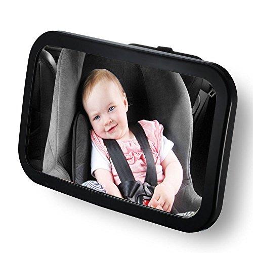 Leisial Espejo Retrovisor para Vigilar Bebé de Coche Espejo de Asiento Trasero Seguridad Estabilidad Ajustable sin Tambaleo y Específico Retrovisor de Visión Trasera de Niños Color Negro