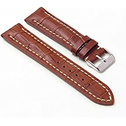 DASSARI Concord Brown Croc Leather watch Band for BREITLING 20/18 20mm