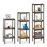 3 tlg Badregal Set Bambus, Holzregal, Standregal, Bambusregal, Küchenregal, Bücherregal, 3, 4 und 5 Ablagen, dunkelbraun