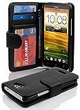 Cadorabo Hülle für HTC One X/Hülle in Handyhülle mit 3 Kartenfächern Case Cover Schutzhülle Etui Tasche Book Klapp Style Oxid Schwarz