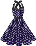 Dresstells Neckholder Rockabilly 1950er Polka Dots Punkte Vintage Retro Cocktailkleid Petticoat Faltenrock Black Purple Dot M