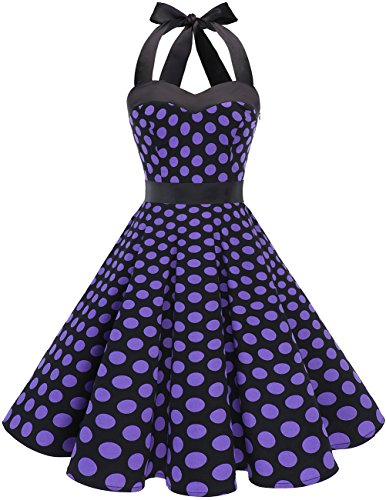 r Rockabilly 1950er Polka Dots Punkte Vintage Retro Cocktailkleid Petticoat Faltenrock Black Purple Dot L ()
