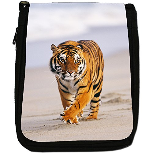Wild tigre Medium Nero Borsa In Tela, taglia M Tiger Walking The Beach