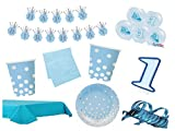 XXL Party Deko Set 1.Geburtstag Kindergeburtstag 54 teilig blau/gold Junge Party Geschirr Party Deko