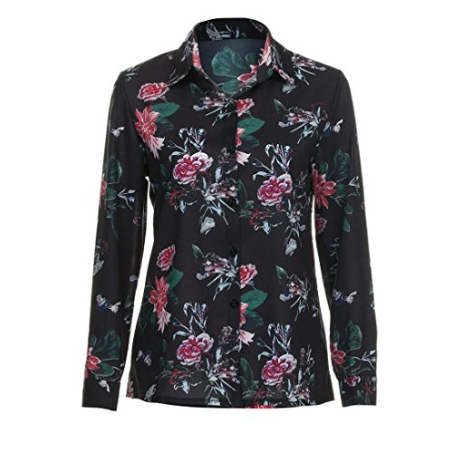 Tonsee Femmes Mode V cou floral manches longues blouse Casual Tops Multicolore