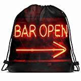 KAKALINQ Drawstring Backpack String Bag Message Orange Neon Glass Open Bar Technology Black Store Glow Red Signage Led Advertise Party Night Tube Sport Gym Sackpack Hiking Yoga Travel Beach