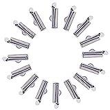 nbeads Plastikbeutel Eisen Slide auf Ende Verschluss Röhren Slider Endkappen, platin, 5,5x 13x 4mm, Loch: 1mm, 3mm innen Durchmesser