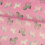 Stoffe Werning Wellness Fleece Einhörner rosa Kinderstoffe - Preis Gilt für 0,5 Meter -