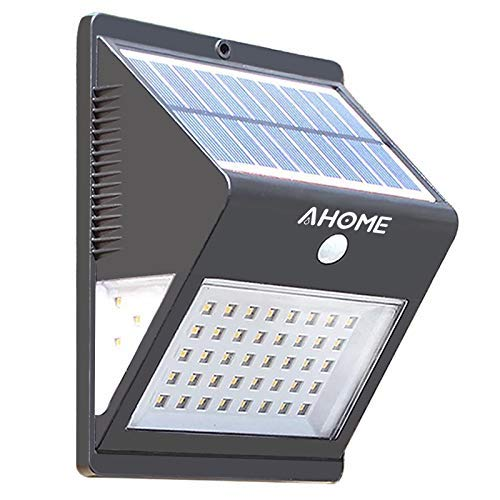 Luz Solar AHOME 600lm, 46LED Lámpara Solar Exterior, 270° Gran Angular de Iluminación, 120° Sensor de Movimiento, Foco Solar Impermeable IPX65 para Jardín, Garaje, Camino, Muros