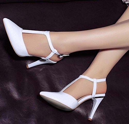 Beauqueen Maultiere Pumps Casual Work Sandalen Frauen T-Strap Knöchelriemen Mid Heel Elegant Weiß Schwarz Europa Größe 34-39 White