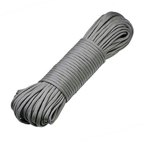 DonDon 30 Meter langes Stoffband Nylon-Schnur Paracord-Seil Survival Band zum Basteln und für Outdoor Camping Aktivitäten 4 mm - 7 Stränge grau (Nylon-schnüre)