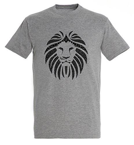 awesome-lion-design-angry-look-head-men-herren-grey-melange-t-shirt