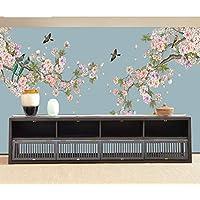 NEWROOM Blumentapete Papiertapete Bunt Blumen Vogel Vintage Creme Landhaus 3D