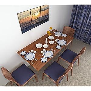 BLUEWUD Hemming Engineered Wood Wall Mounted Folding Dining Table (Walnut – 4 Seater)