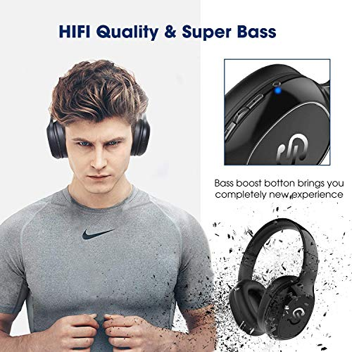 SoundPEATS Bluetooth Kopfhörer Over Ear Kopfhörer 20 Stunden Spieldauer kabellos & 3,5-mm-Audioeingang on Ear Headset Kabelgebundene Kopfhörer Bass Stereo Mikrofon Kompatibel für Samsung/iPhone/Huawei - 2